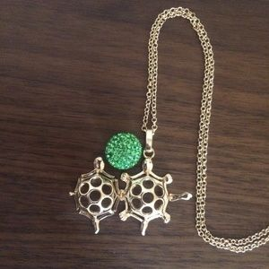 Gold long turtle necklace / essential oil gift